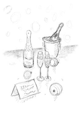 Sketch for champagne scene